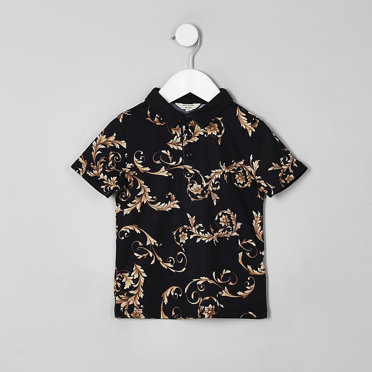 Mini boys black baroque polo shirt