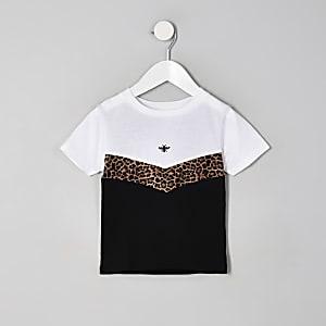 T-shirt à chevron imprimé léopard blanc mini garçon