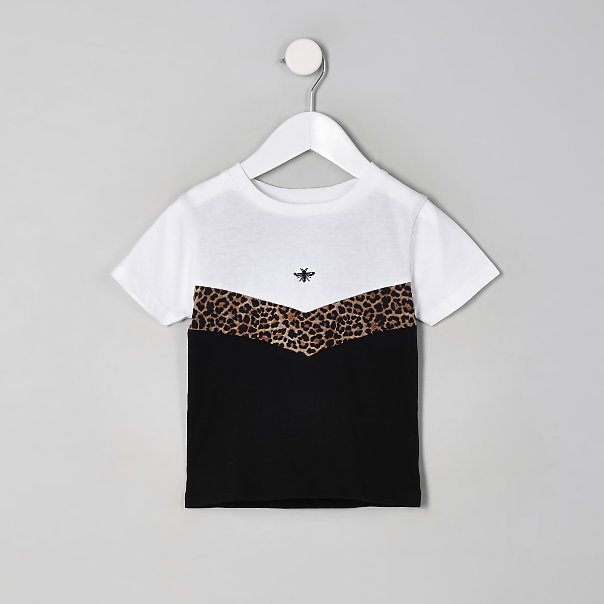 Mini boys white leopard print chevron T-shirt