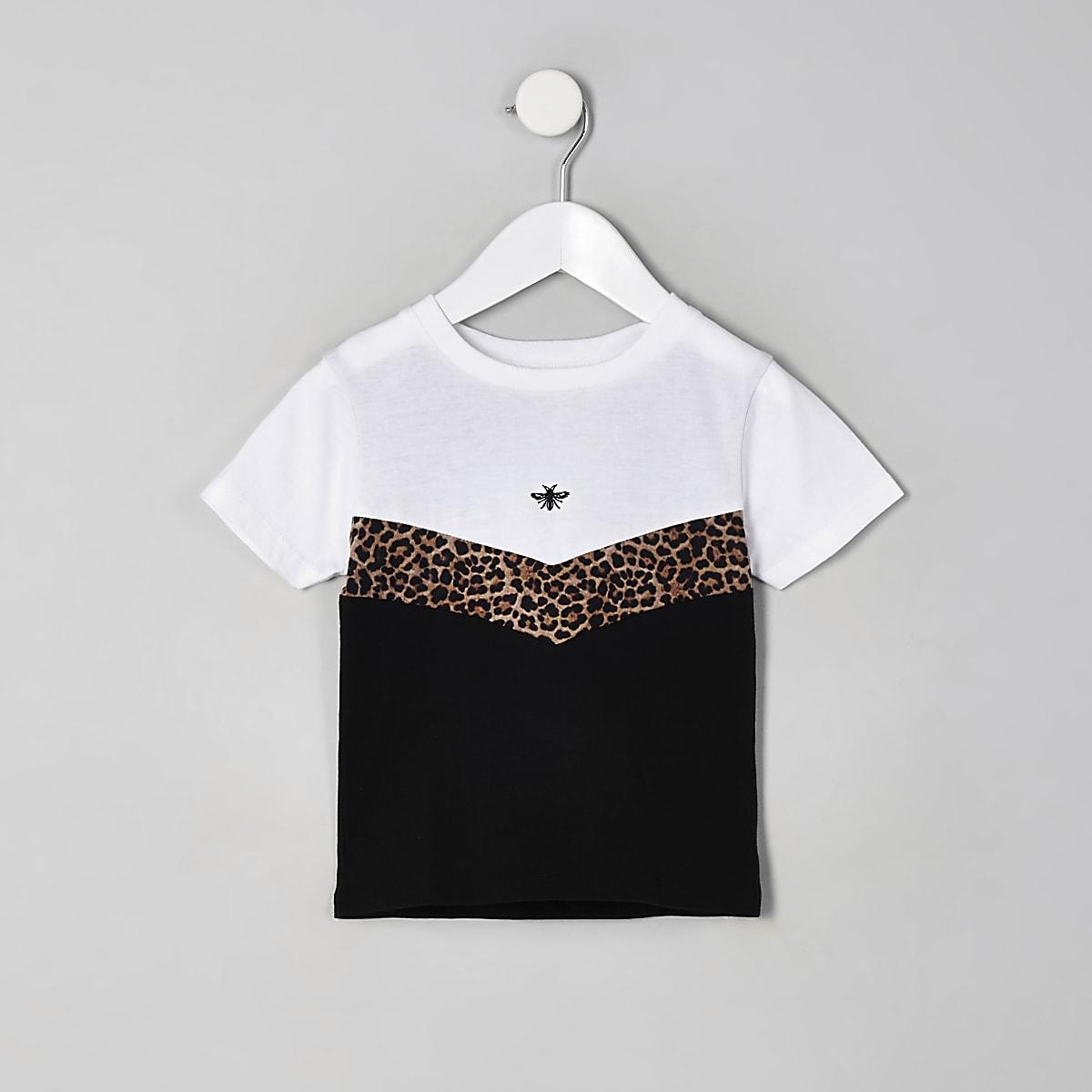 Mini boys white leopard print chevron T-shirt