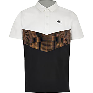 Boys white chevron polo shirt
