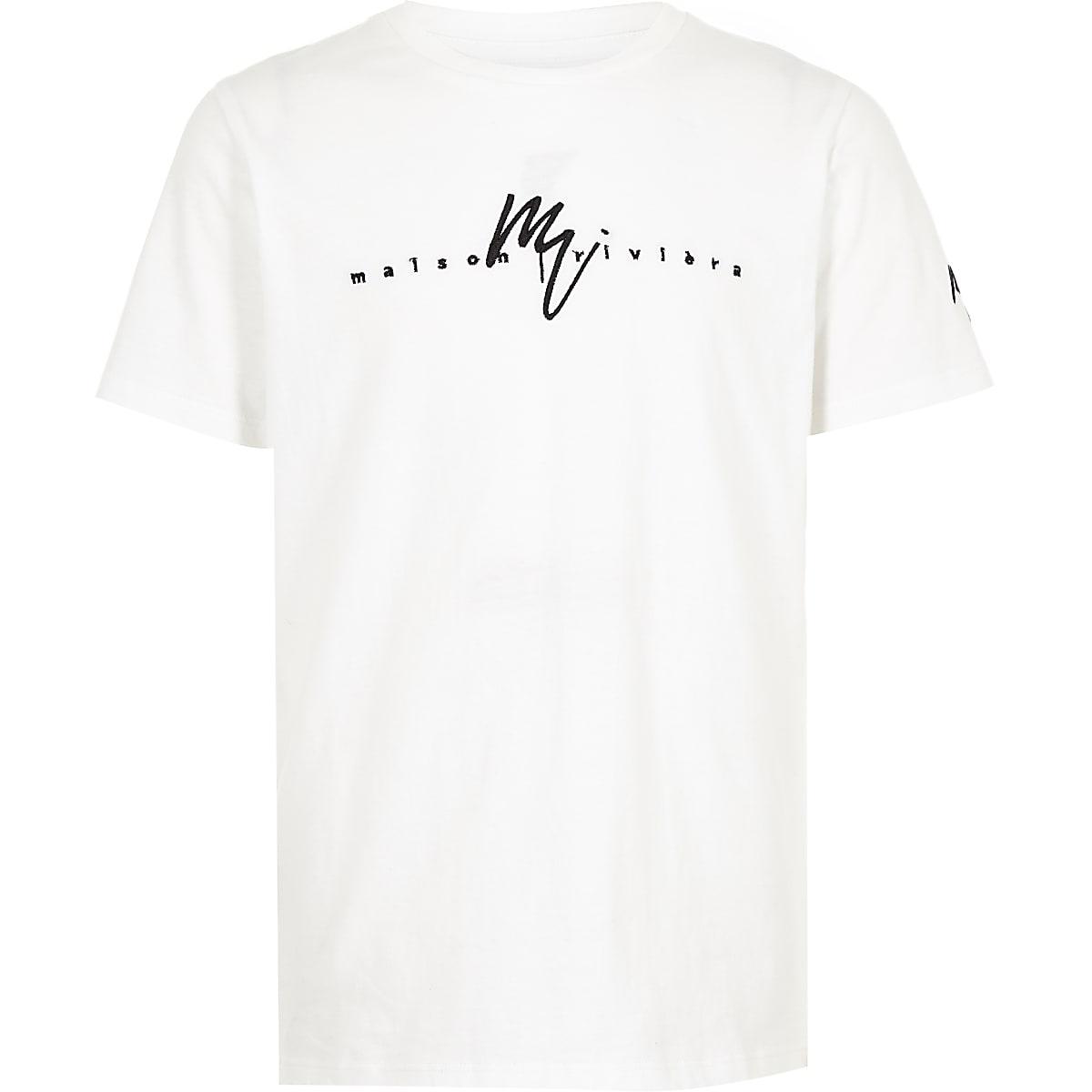 Boys white 'Maison Riviera' T-shirt