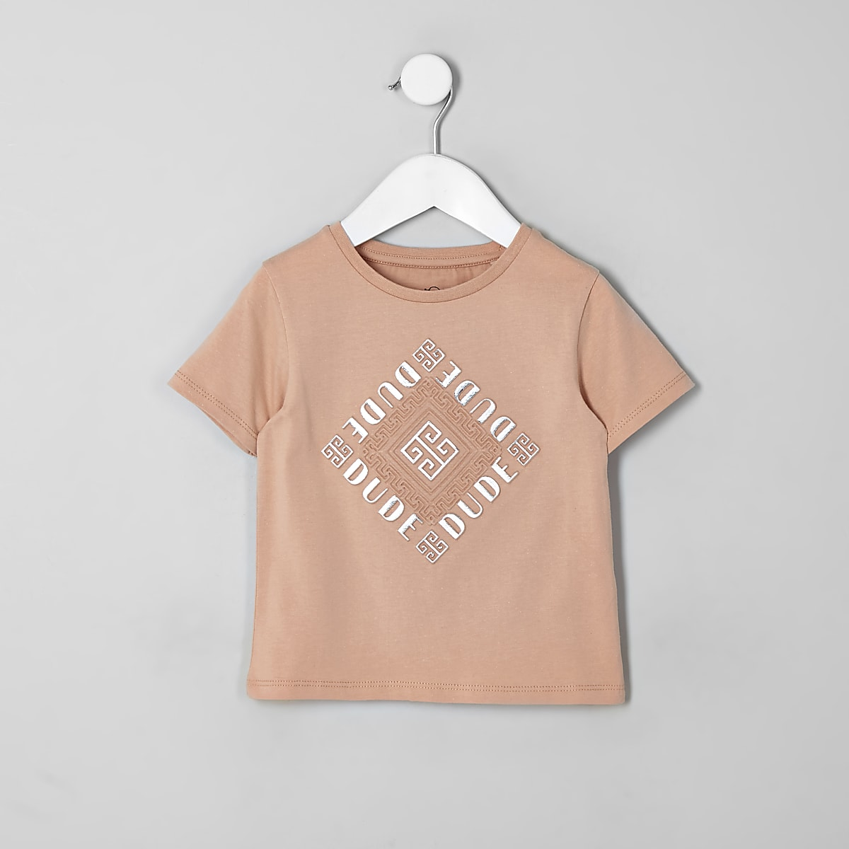 Mini - Roze T-shirt met folieprint en reliëf voor kinderen