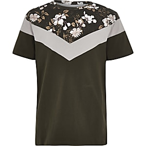 Boys khaki floral vertical block T-shirt