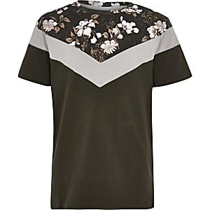Kaki T-shirt met bloemen- en verticale blokprint voor jongens