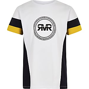 Boys yellow RI colour block sleeve T-shirt
