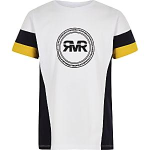 Geel T-shirt met RI-logo en kleurvlakken op de mouwen voor jongens