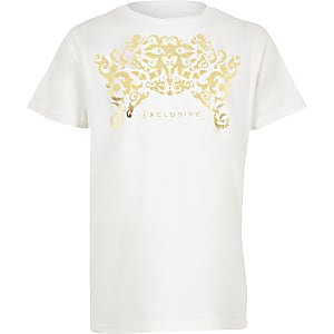 Boys white 'Exclusive' foil print T-shirt