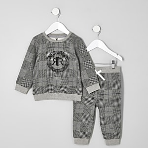 Mini boys grey check RI sweatshirt outfit