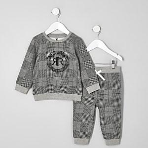 Mini - Outfit met grijs geruit sweatshirt en RI-logo voor jongens