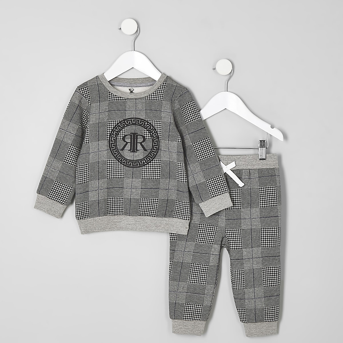 Mini boys grey check RI sweatshirt outfit