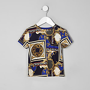 Mini - Marineblauw T-shirt met barokprint voor jongens