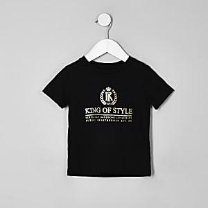 Mini - Zwart 'King of style' T-shirt voor jongens