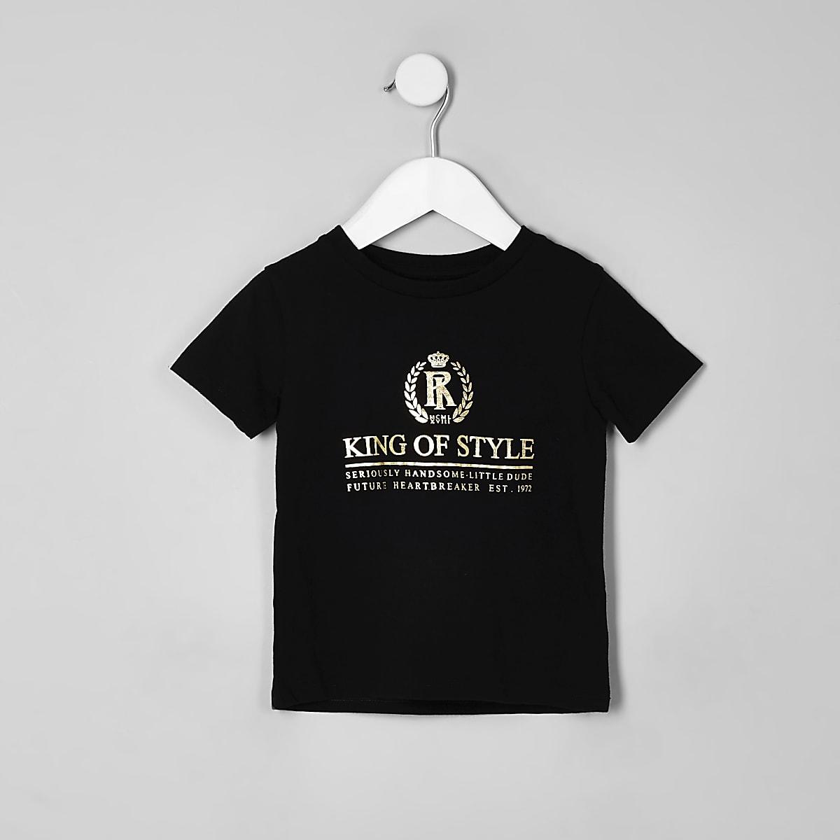 Mini boys black 'King of style' T-shirt