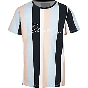 Boys blue stripe 'Brooklyn' T-shirt
