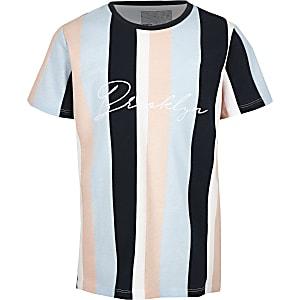 Boys blue stripe 'Brooklyn' T-shirt