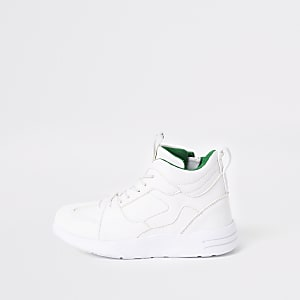 Boys white chunky hi top sneakers