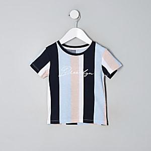 Mini - Blauw gestreept T-shirt met 'Brooklyn'-print voor jongens