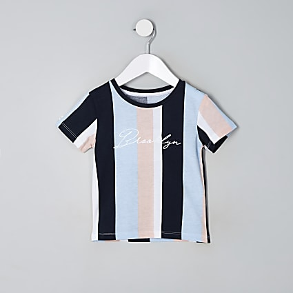 Mini boys blue stripe 'Brooklyn' T-shirt