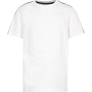 T-shirt blanc à bande «Brnx» pour garçon