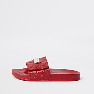 Boys red RI monogram sliders