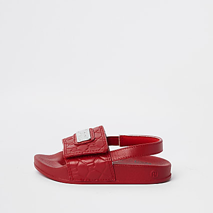 Mini boys red RI monogram sliders