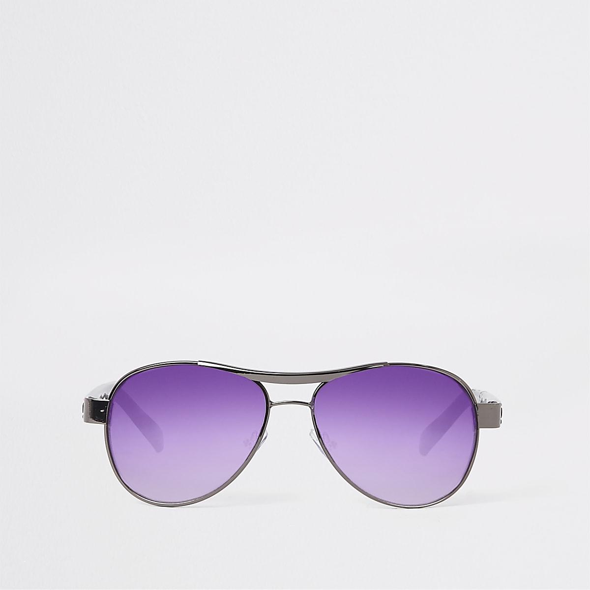 Boys grey aviator purple lens sunglasses
