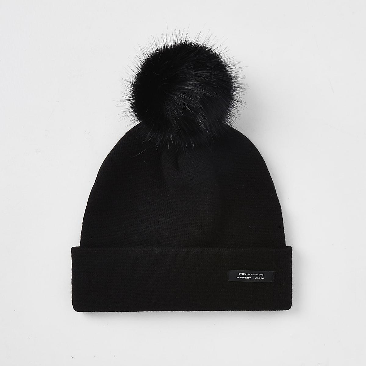Mini boys black slouch beanie hat