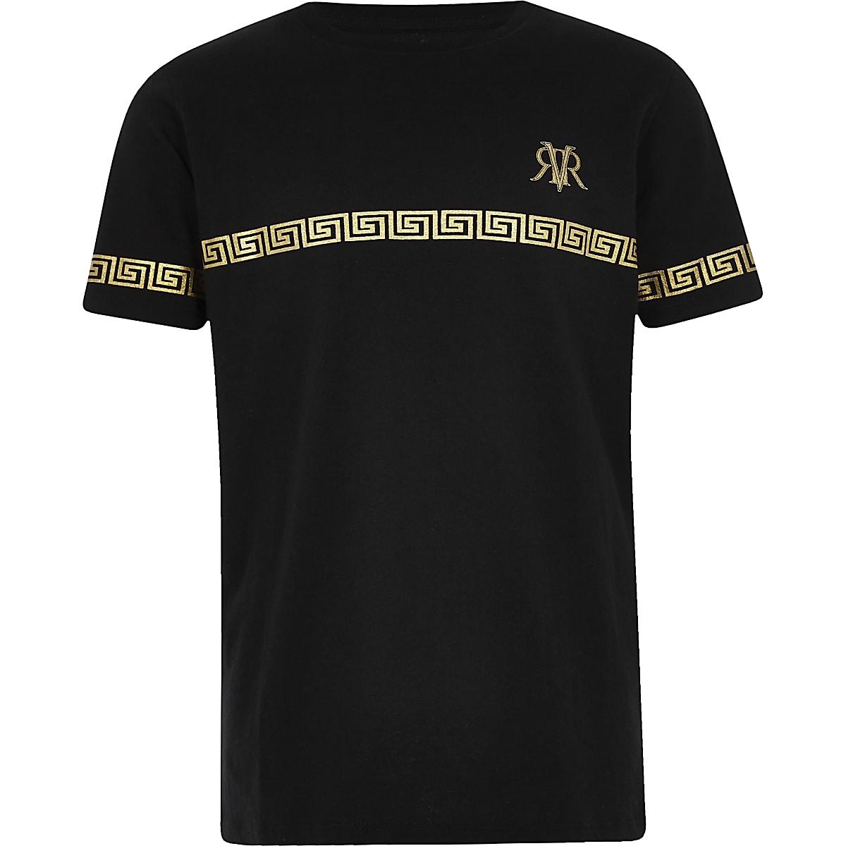 Boys black RI tape T-shirt