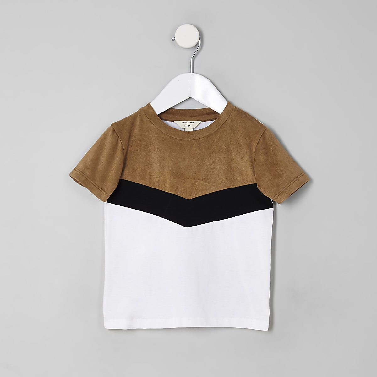 Mini boys brown chevron colour block T-shirt