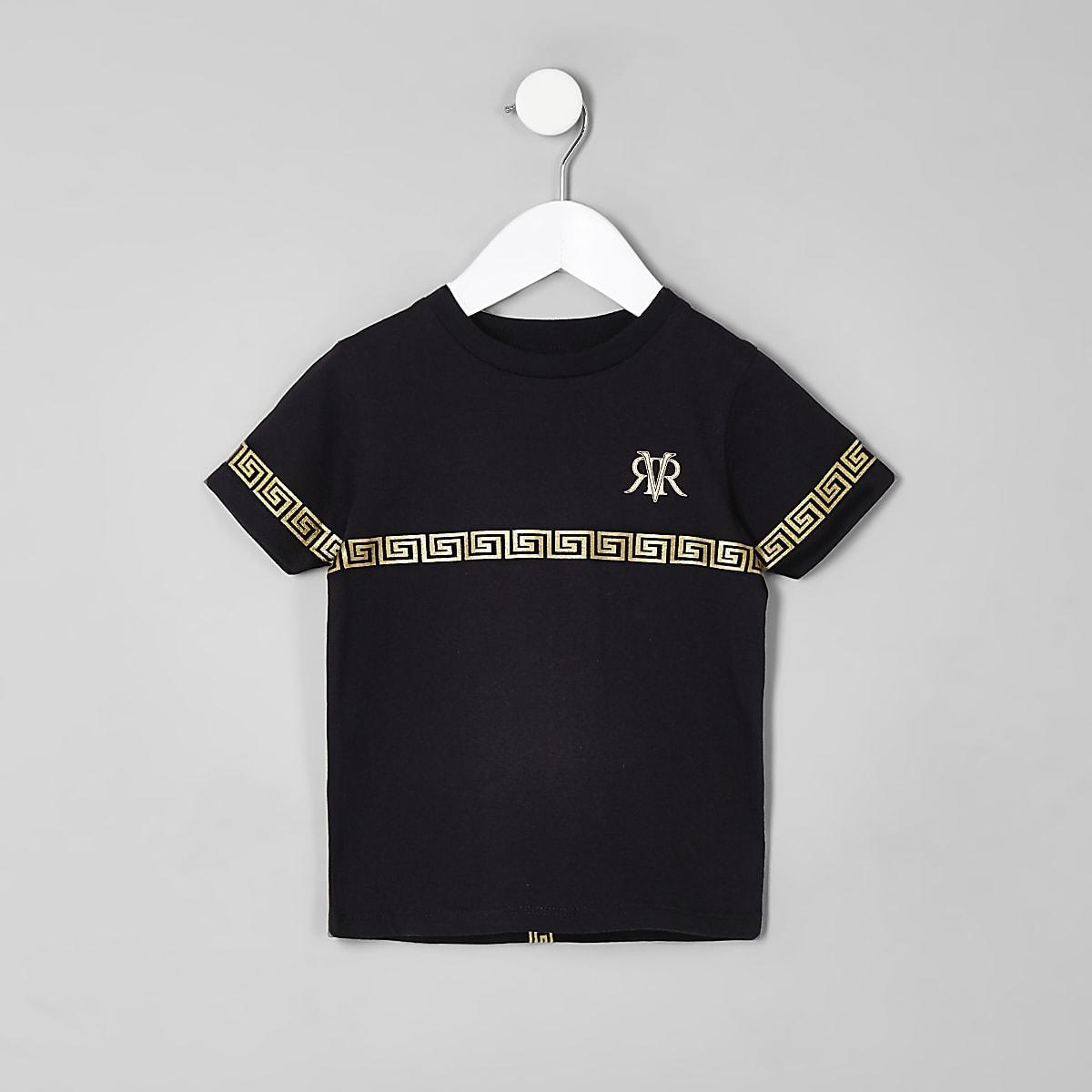 Mini boys black RI tape T-shirt