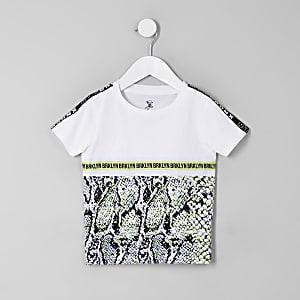 Mini boys white snake print tape T-shirt