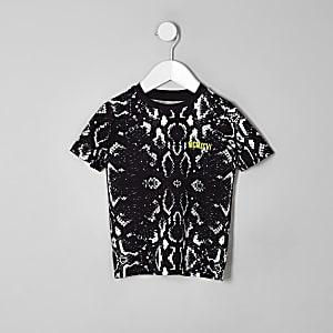 Mini boys black snake print T-shirt