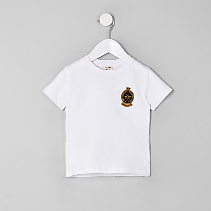 Mini boys white embroidered wasp T-shirt