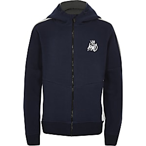 Marineblauwe Kings Will Dream hoodie met rits voor jongens
