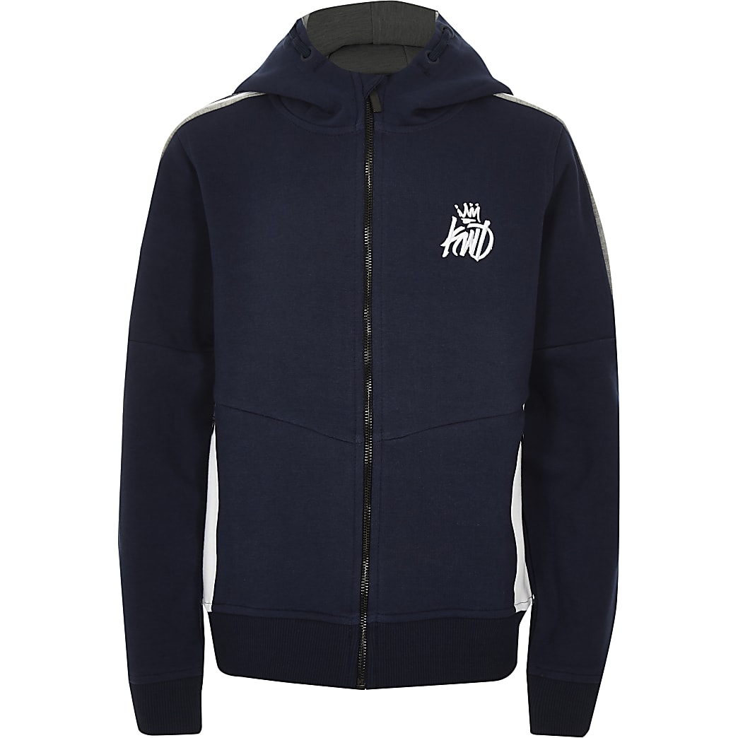 Boys navy Kings Will Dream zip up hoodie
