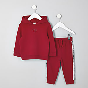 Rode 'Mini dude' hoodie voor mini-jongens