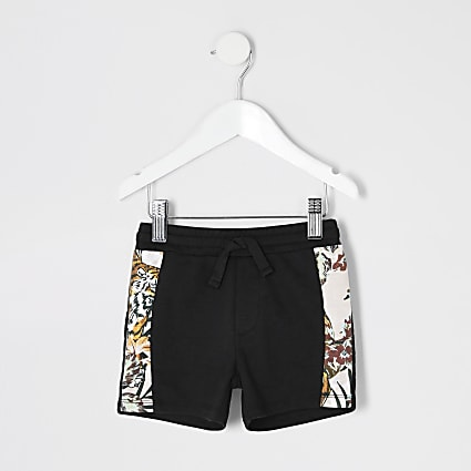 Mini boys black jogger shorts