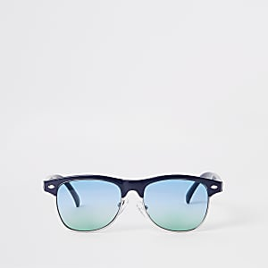 Boys blue flat top green lens sunglasses