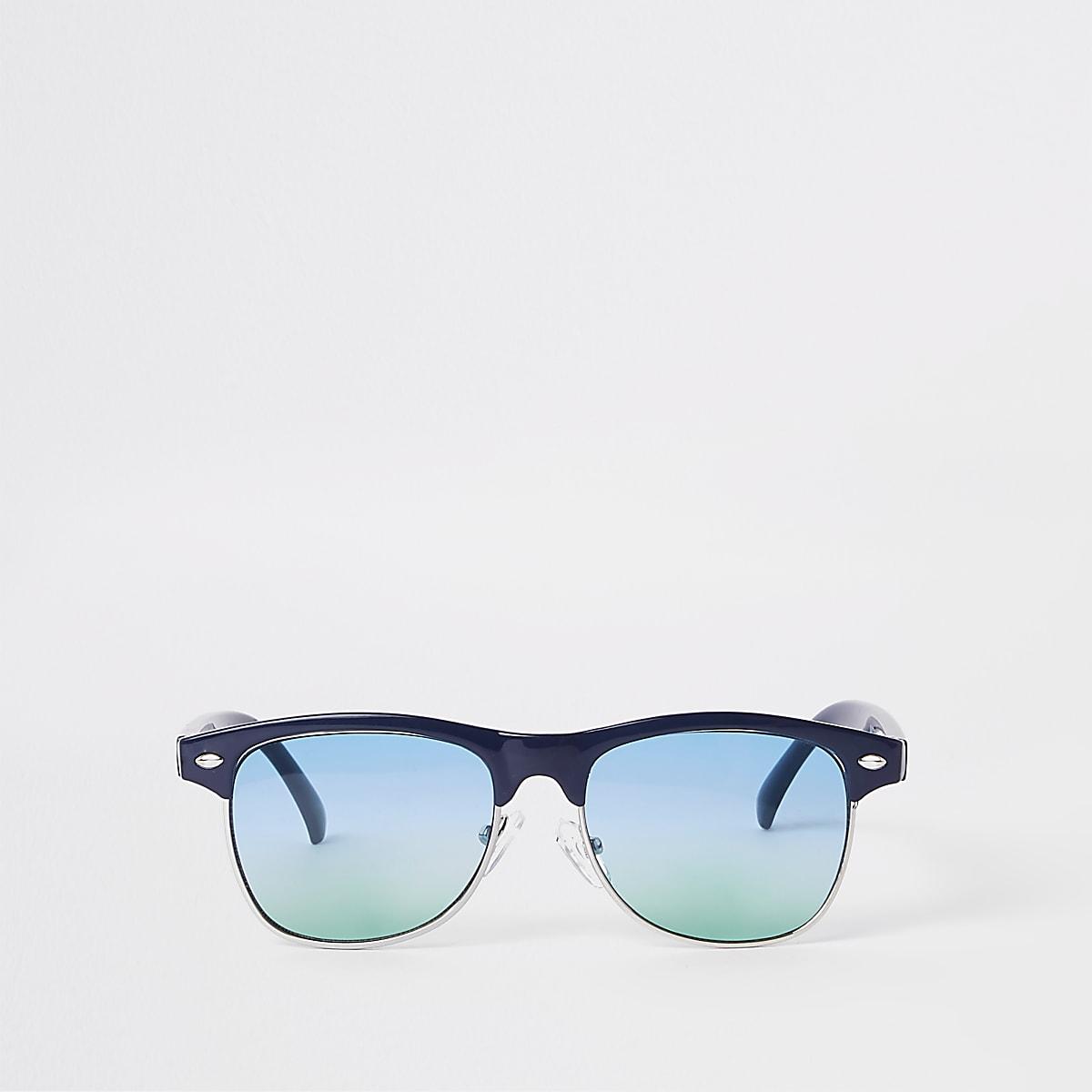 Boys blue flat top green lens sunglasses