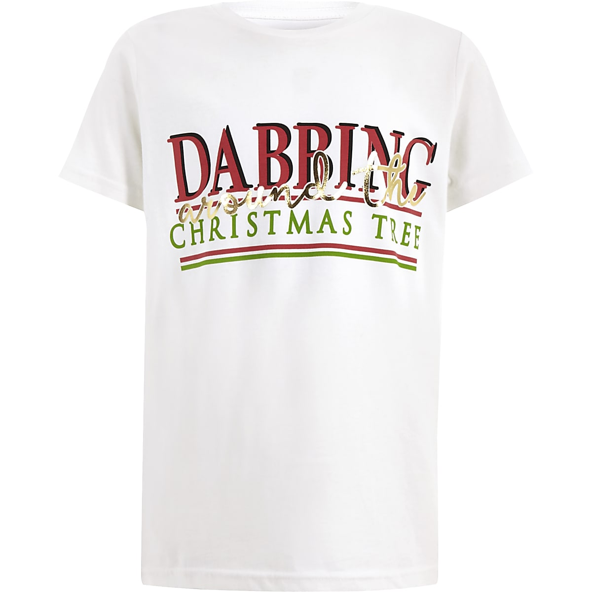 Boys white 'Dabbing' Christmas T-shirt