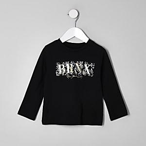 Mini - Zwart T-shirt met 'BRNX'-folieprint voor jongens