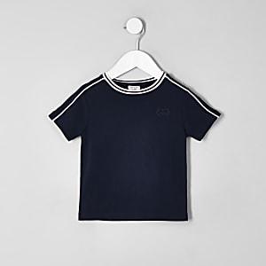 T-shirt bleu marine passepoilé mini garçon