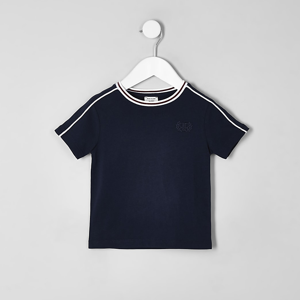Mini boys navy piped T-shirt