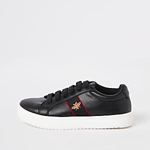 Boys black bee lace-up plimsolls