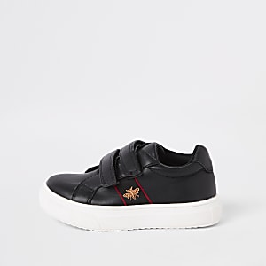 Mini boys black bee plimsolls