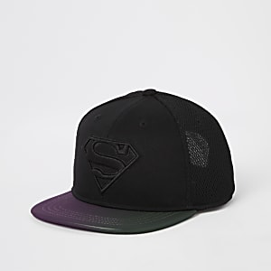 Boys black Superman flat peak cap