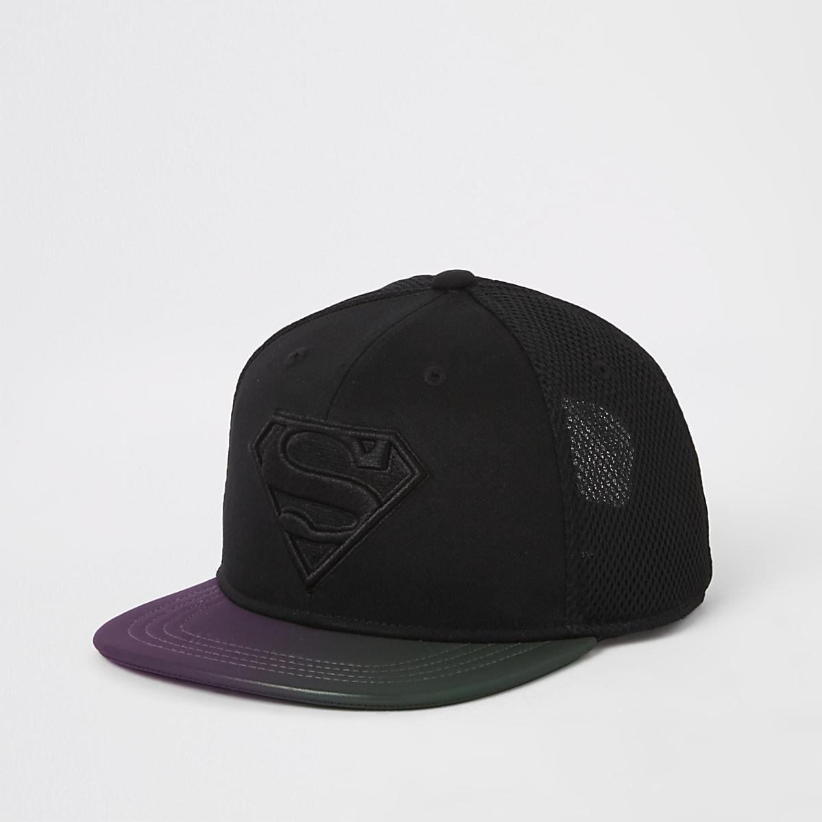 Boys black Superman flat peak cap