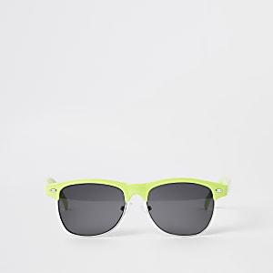 Neongrüne, flache Sonnenbrille