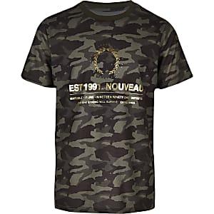T-shirt imprimé camouflage métallisé kaki pour garçon
